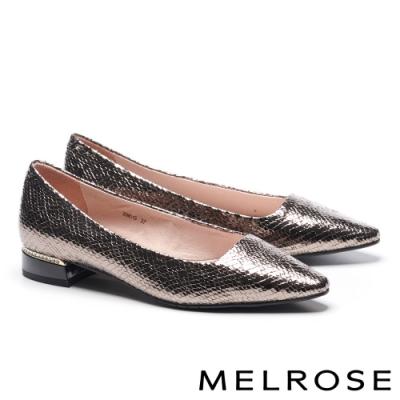低跟鞋 MELROSE 時髦蛇紋皮革鑽飾低跟鞋-古銅