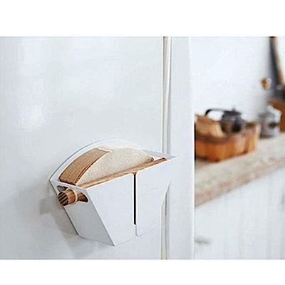 Homely Zakka 工藝美感磁吸式鐵製咖啡濾紙收納盒/收納架(白色)