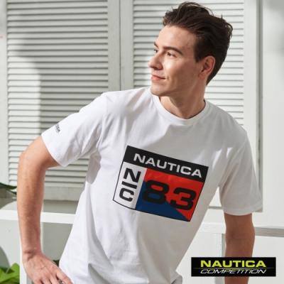 Nautica COMPETITION幾何LOGO短袖T恤-白色