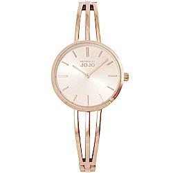 NATURALLY JOJO 簡約魅力造型手環時尚手錶-玫瑰金框/30mm