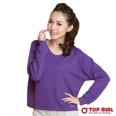 【TOP GIRL】星徵棉長袖短版圓領T-深情紫