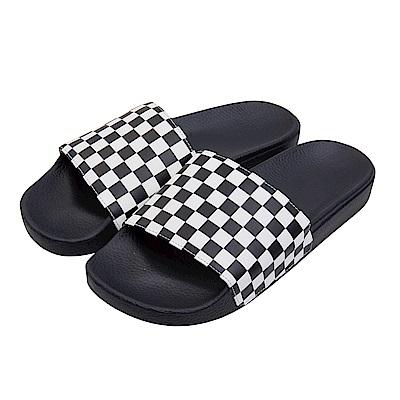 (男)VANS Slide-On 棋盤格休閒拖鞋*黑色