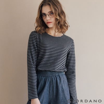 GIORDANO 女裝條紋圓領長袖T恤 -01 標誌黑/深花灰