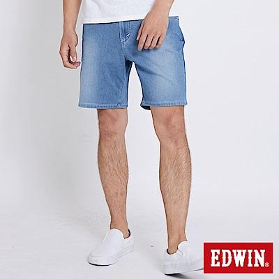 EDWIN 迦績褲JERSEY棉感寬版短褲-男-石洗藍