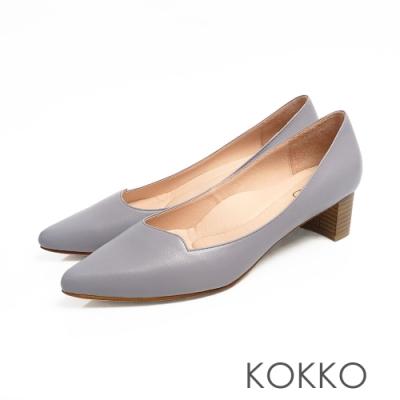 KOKKO -OL最愛彎折素面羊皮高跟鞋 - 霧灰紫色