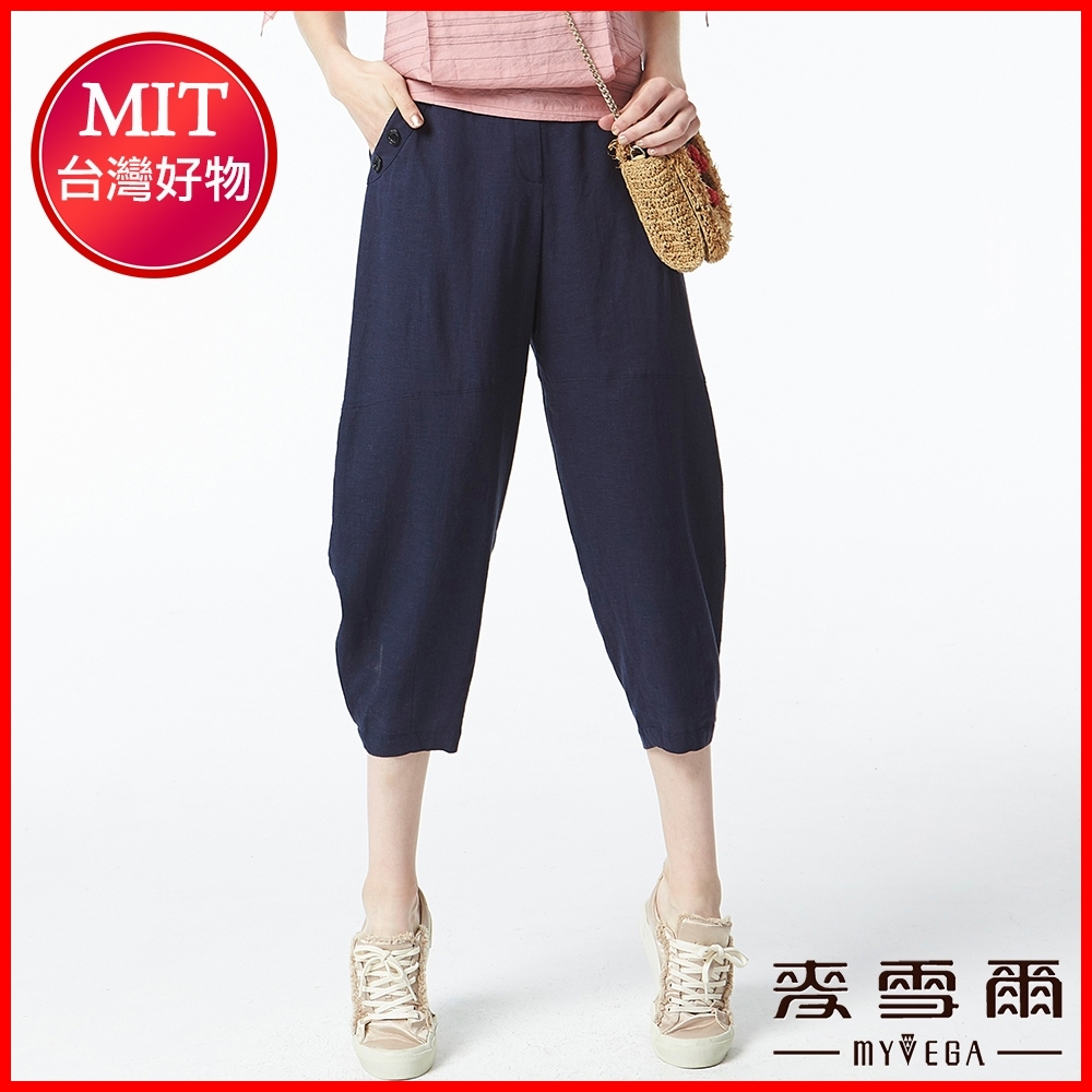 麥雪爾 日式古著棉麻八分寬褲