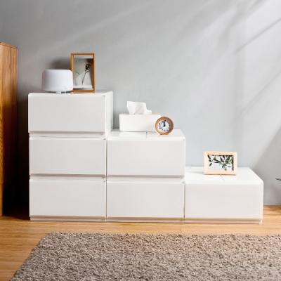 HOUSE 台灣製 純白無印風一層抽屜式收納箱-6入- 3號中栗子