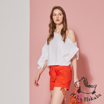 Hana 花木馬 顯白亮眼抽繩打摺造型短褲-洋紅