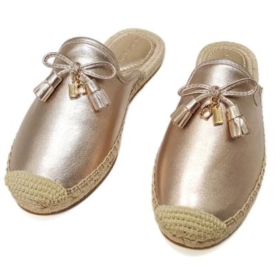COACH 新款 帆布牛皮穆勒鞋/懶人鞋-香檳金