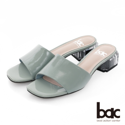 【bac】紐約不夜城 - 軟漆一片式透明水晶粗跟拖涼鞋-藍