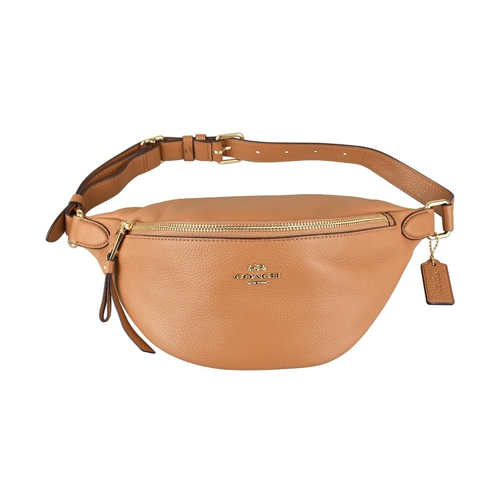 COACH金字馬車LOGO牛皮拉鍊胸腰包(褐色)