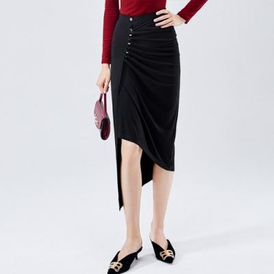 專注內搭-黑色不規則長版開叉褶皺包臀高腰(S-XL可選)
