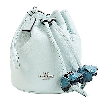 COACH 荔枝皮水桶束口花朵手提包(粉藍)