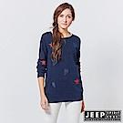 JEEP 女裝 清新風格圖騰長袖針織衫 -藍色