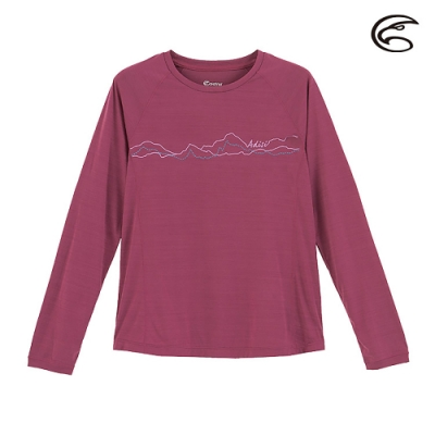 ADISI 女輕薄棉感圖騰圓領長袖排汗衣AL2011110 (S-2XL) 寶石紫