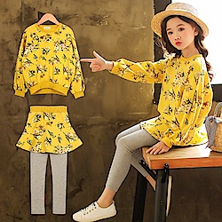 小衣衫童裝  中大童浪漫碎花黃色長袖上衣裙褲套裝