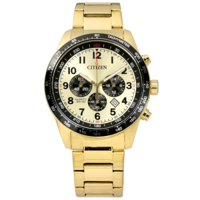 CITIZEN 礦石強化玻璃 三眼計時 日期 夜光指針 不鏽鋼手錶-黑x鍍金/44mm