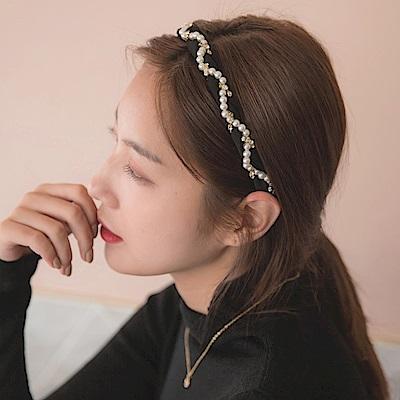 浪漫紗質優雅亮鑽珍珠髮箍-OB大尺碼