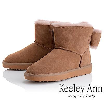 Keeley Ann 暖心戀冬~立體蝴蝶結全真皮雪靴(駱駝色-Ann系列)