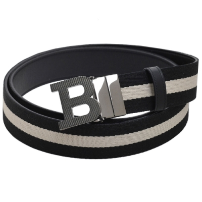 BALLY B BUCKLE 經典織紋雙面兩用皮帶(黑白織帶/黑)