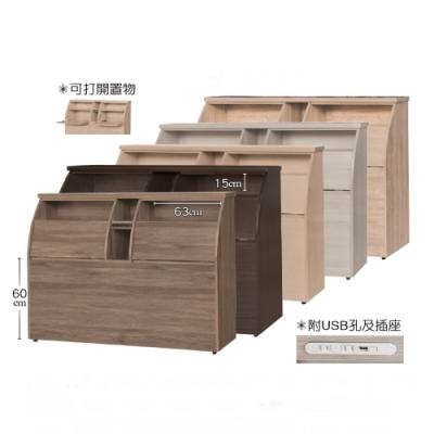 MUNA 金牛座5尺加高型床頭箱(木門)(共五色) 154X30X110cm