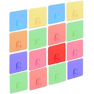 歐奇納 OHKINA 隨手貼系列_馬卡龍方形重複貼掛勾16入(6.8x6.8cm)