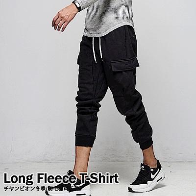 DITION 美式側口袋機能縮口棉褲 健身 抗毛球保暖刷毛