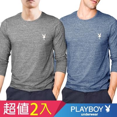 [時時樂!限時激降] PLAYBOY刷毛蓄熱短絨保暖長袖衫(2件組)