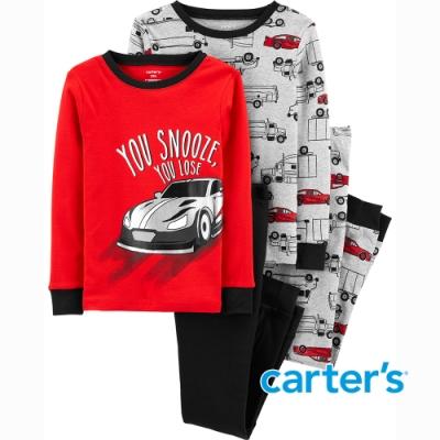 【Carter s】紅色小車車4件組家居服(5-8) (上衣/長褲)  (台灣總代理)