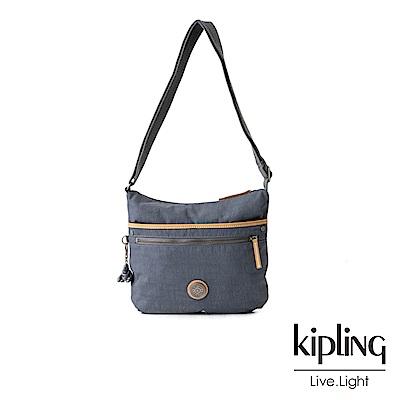 Kipling藍灰色前拉鍊側背包-ARTO-EDGELAND系列