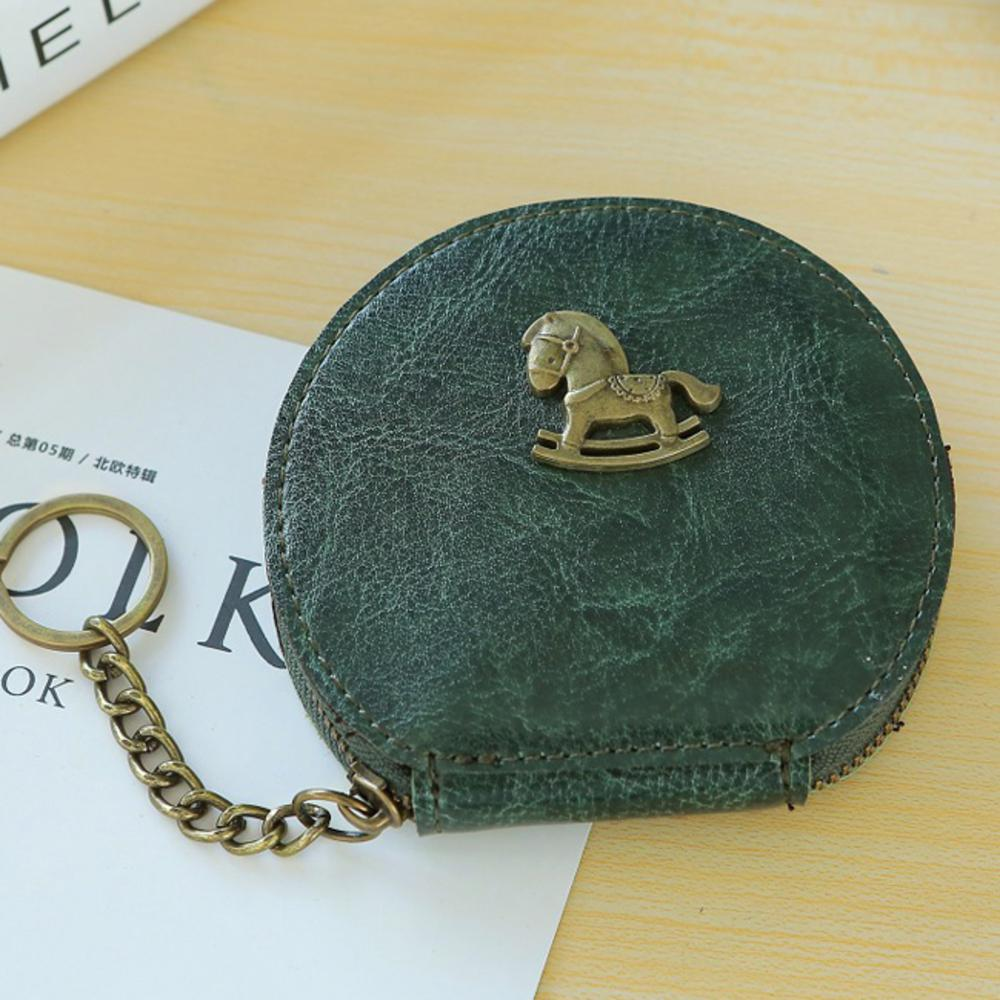 iSPurple 古銅小馬 雲彩皮革零錢鑰匙圓包 綠