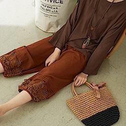 慢 生活 勾花蕾絲造型長褲-咖啡