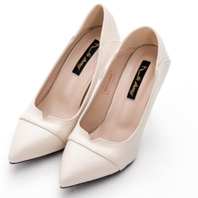 River&Moon中大尺碼跟鞋-小V口可後踩軟皮高跟鞋 米