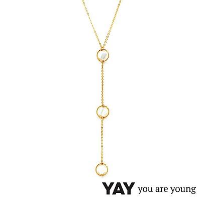 YAY You Are Young 白天鵝 珍珠母貝幸運草項鍊 金色X白色 三墜經典款