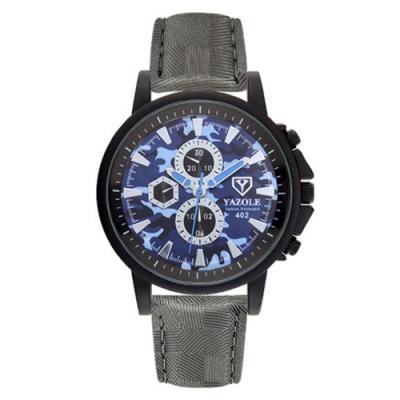 YAZOLE 亞卓倫402-時尚酷感-運動休閒迷彩仿三眼手錶