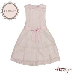 Annys安妮公主-粉紅花瓣回憶-拼接花朵蕾絲蝴蝶結背心洋裝*8116粉紅