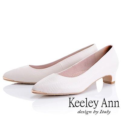 Keeley Ann 簡約美感~素面質感壓紋全真皮粗中跟鞋(白色)