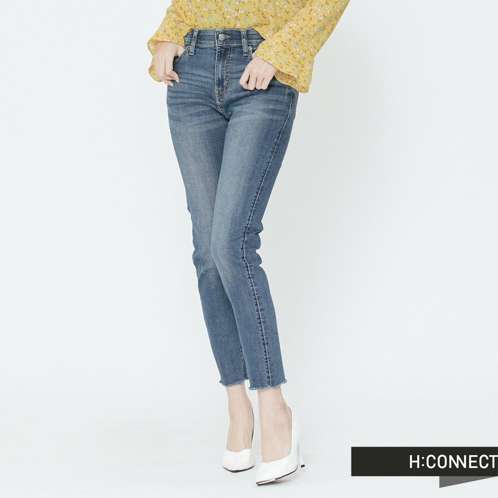 H:CONNECT 韓國品牌 女裝-微彈刷色合身牛仔褲-藍