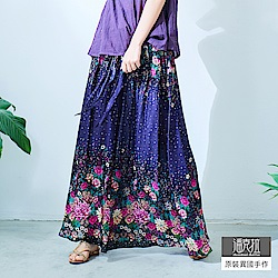 潘克拉 漸層星空花朵綁帶長裙- 藍