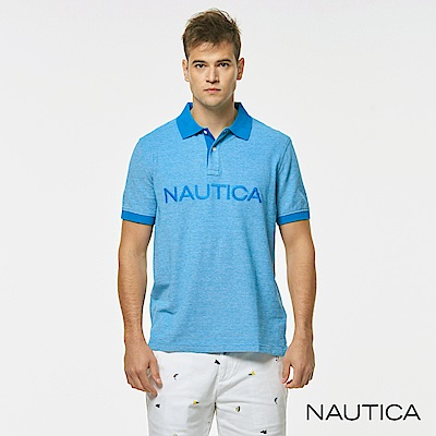 Nautica品牌 LOGO短袖POLO衫-藍色