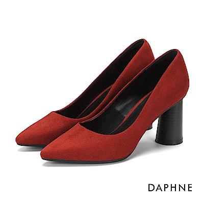 達芙妮DAPHNE 高跟鞋-純色絨面圓柱木紋高跟鞋-磚紅