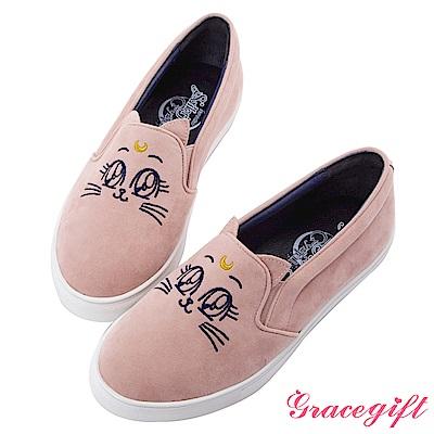 Grace gift-美少女戰士月亮飾釦絨布懶人鞋 粉