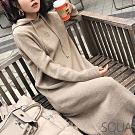 SQUA 素色彈性針織連帽洋裝-二色-(S~L)