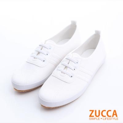 ZUCCA-日系帆布橫紋休閒鞋-白-z6304we