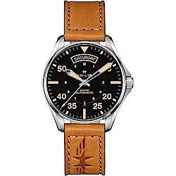 Hamilton 漢米爾頓 Khaki Pilot 卡其飛行員機械錶-黑x卡其色/42mm