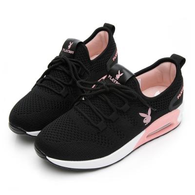 PLAYBOY 舒適針織氣墊綁帶休閒鞋-黑粉-Y5733C9