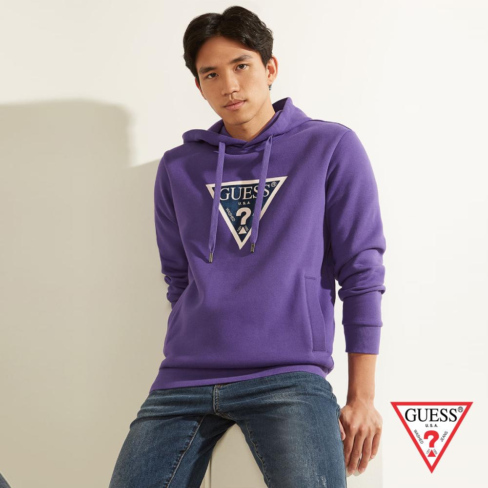 GUESS-男裝-拼色倒三角LOGO長袖帽T-紫 原價3990