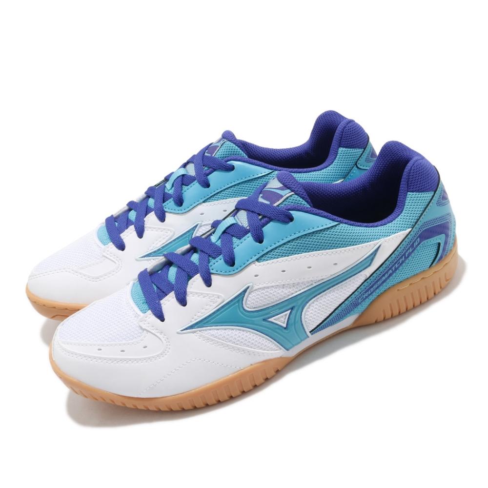 Mizuno 桌球鞋 Crossmatch Plio RX4 男鞋 美津濃 膠底 防滑 專業運動 透氣 白 藍 81GA183026