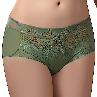 思薇爾 波光曼舞系列M-XL蕾絲中低腰平口內褲(雨林綠)