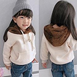 小衣衫童裝   中小童毛毛咖啡帽子刷毛長袖上衣1071019